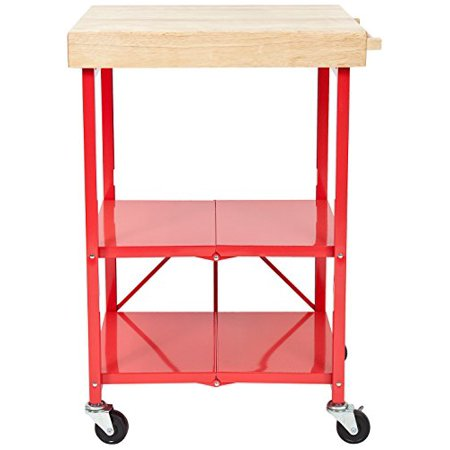Origami RBT-06 Foldable Kitchen Island Cart, Red