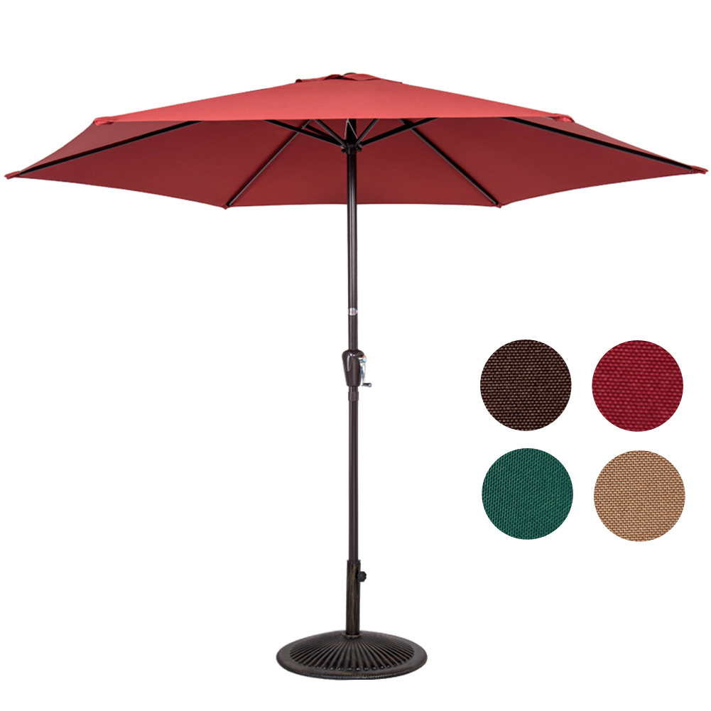 Sundale Outdoor 10FT Patio Umbrella Patio Market Steel with Crank Outdoor Yard Garden