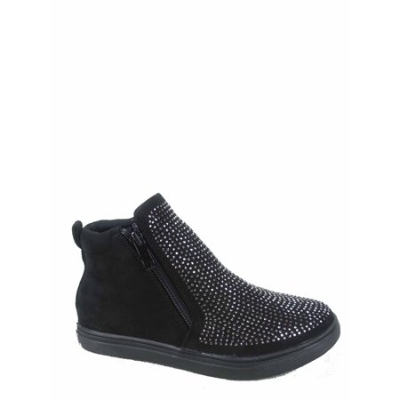 Fremont-46k Rond Toe Studded Zipper Slip On Flat School Sneaker -