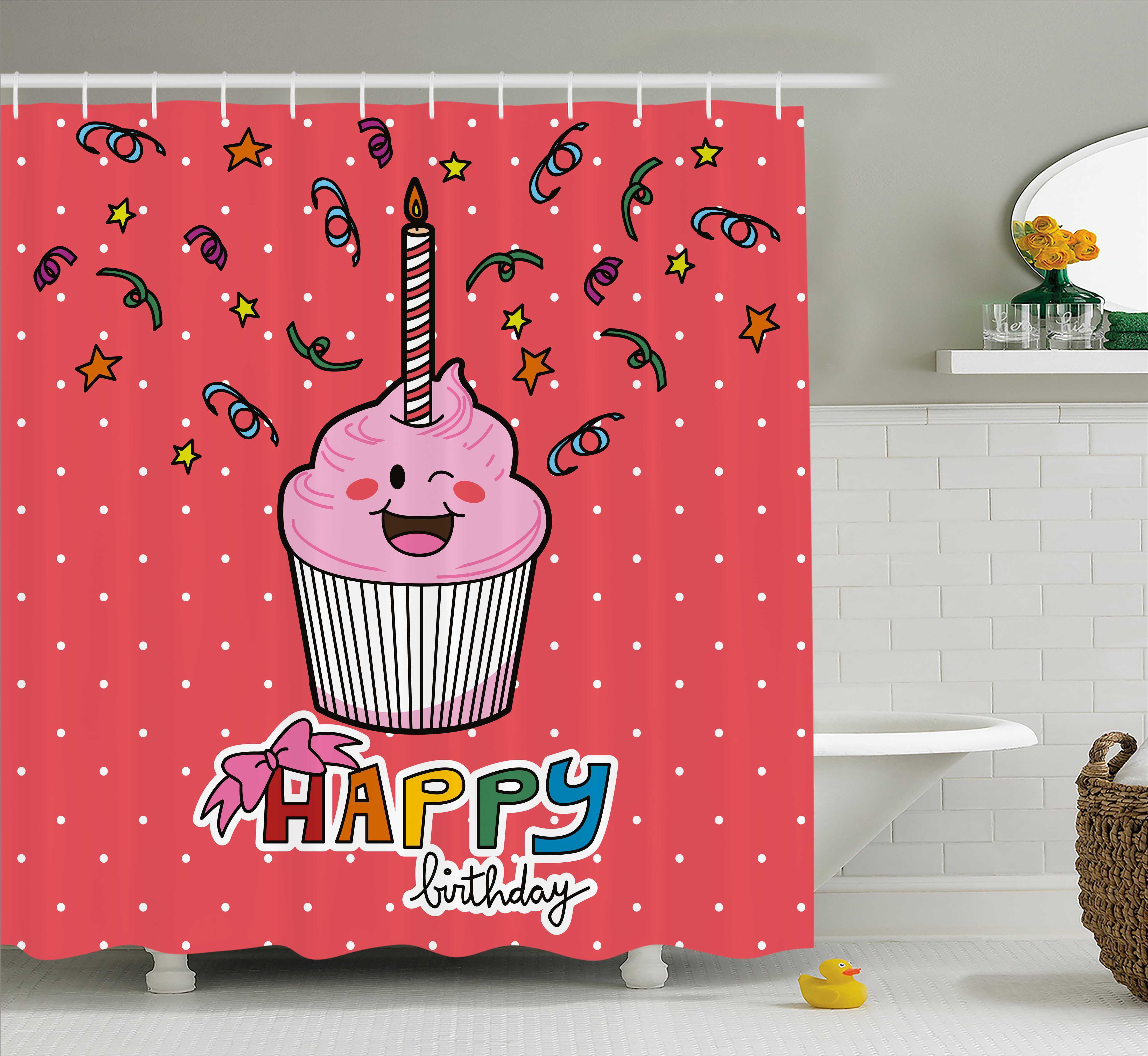 Birthday Shower Curtain, Pink Strawberry Flavor Cupcake w...