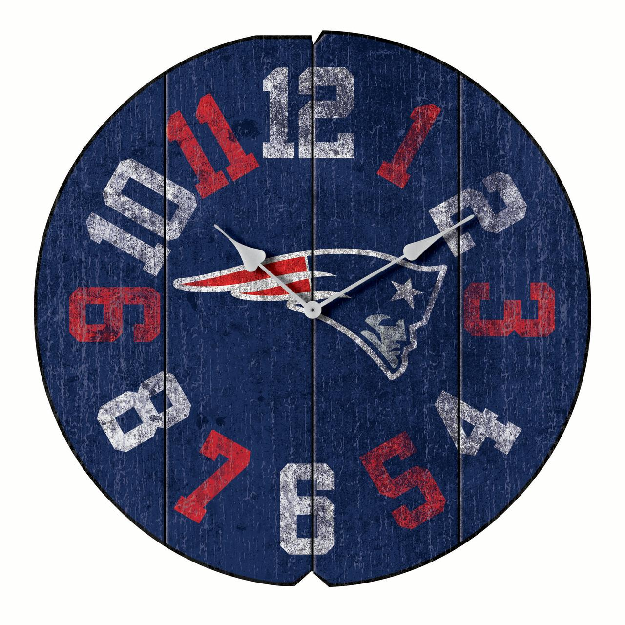"New England Patriots 16"" Vintage Round Wall Clock - Blue - No Size"