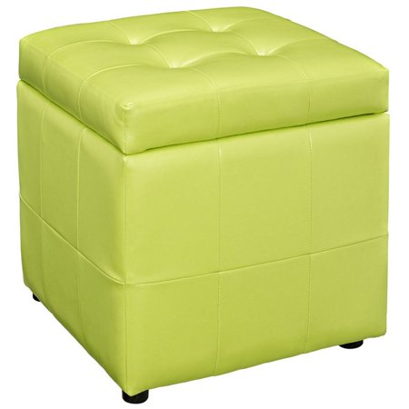 Superb Hawthorne Collections Square Faux Leather Storage Ottoman In Light Green Machost Co Dining Chair Design Ideas Machostcouk