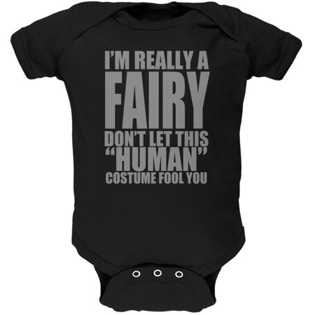 Halloween Human Fairy Costume Black Soft Baby One Piece