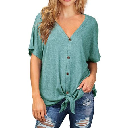 Womens Waffle Knit Tunic Blouse Tie Knot Short Sleeve Henley Tops Loose Fitting Bat Wing