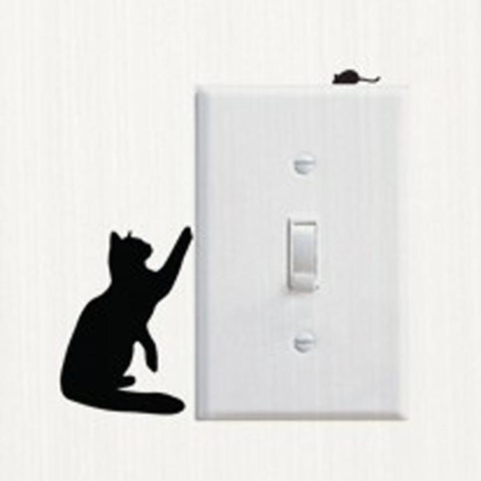 Huppin's Living Room Bedroom Bathroom Decorating Cartoon Cat Wall Switch Sticker Mural Art Decal