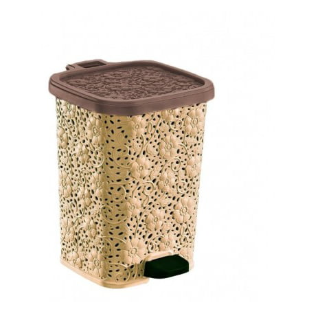 Superio Step-On Trash Can, Lace Design, 12.6 Qt. (Beige and Brown) - image 1 de 1
