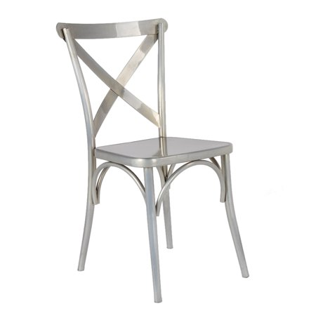Modern Contemporary Urban Design Kitchen Dining Side Chair, Silver Gunmetal, Metal