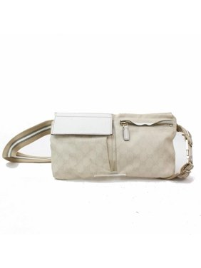 96a88846baec Product Image Monogram Signature Belt Fanny Pack 868779 White Canvas Cross  Body Bag. Gucci