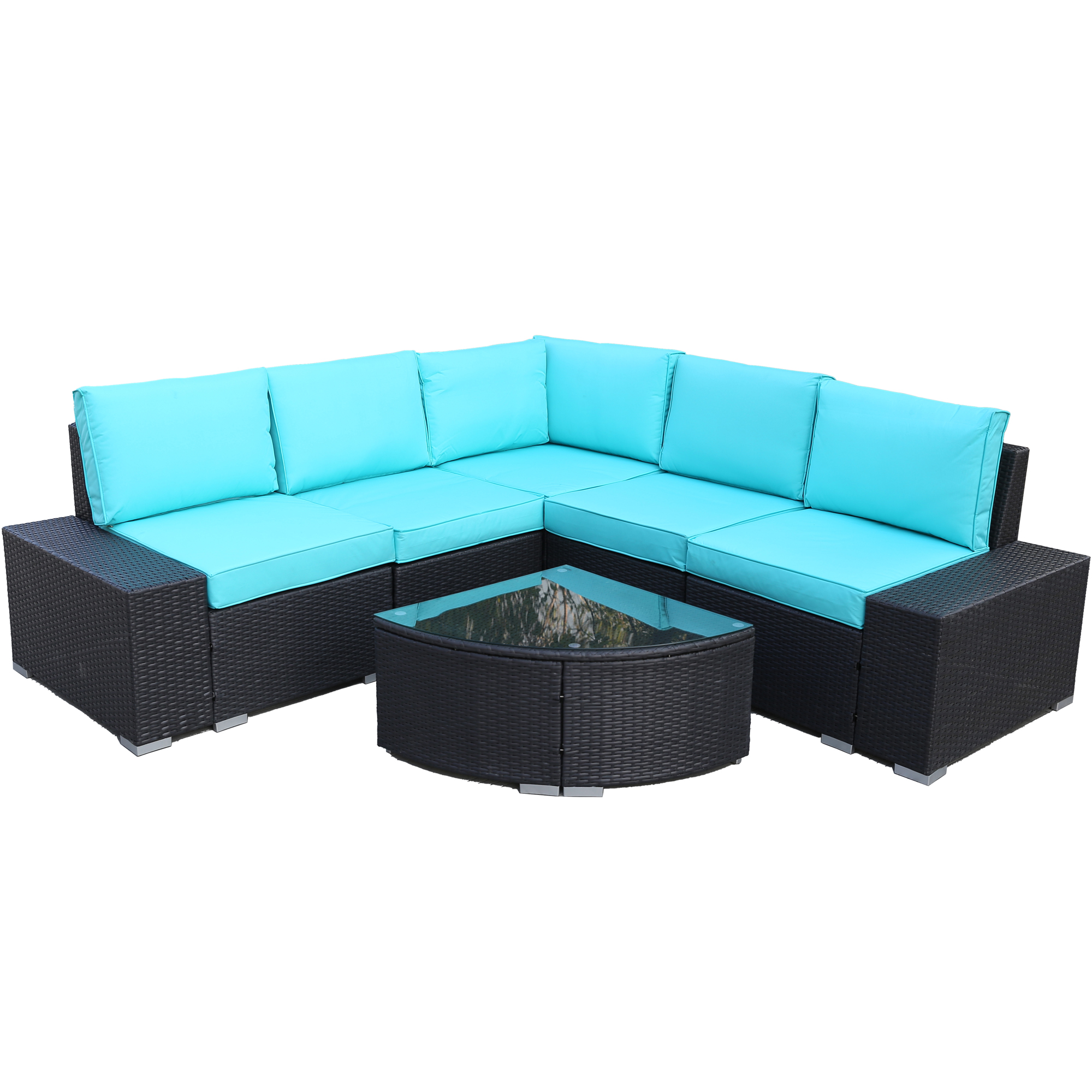 URHOEMPRO Outdoor Wicker Sectional Sofa Set, 6 Piece Patio ...