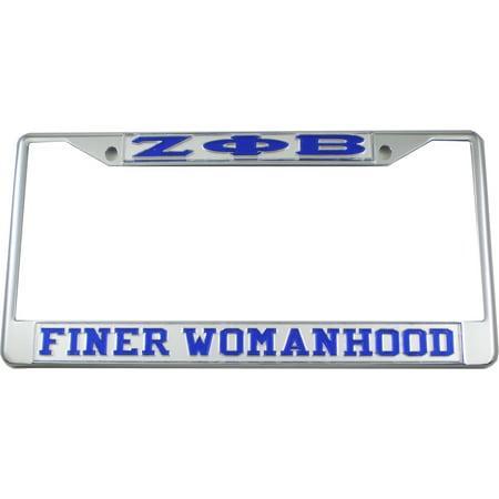 Zeta Phi Beta Finer Womanhood License Plate Frame [Silver/Blue - Car ...