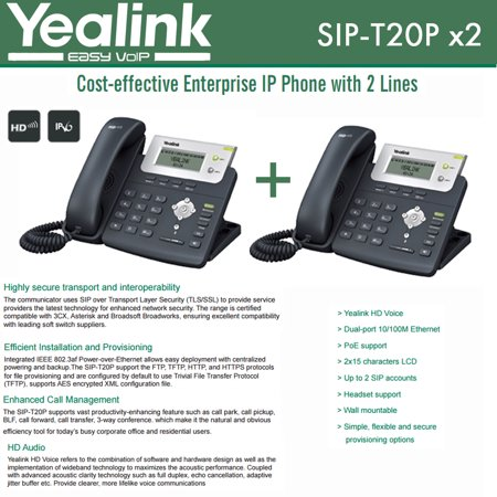 Yealink SIP-T20P 2-PACK Enterprise IP Phone 2-Lines, HD Voice, PoE and  Headset