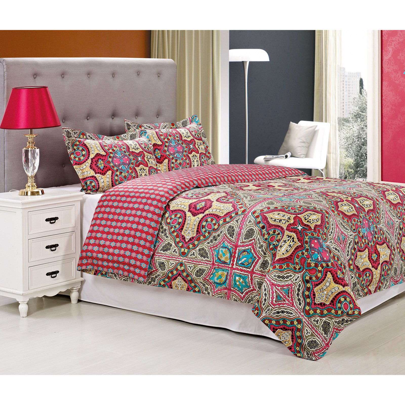 Superior Wildberry Reversible 300 Thread Count Cotton Reactive Print Duvet Cover Set