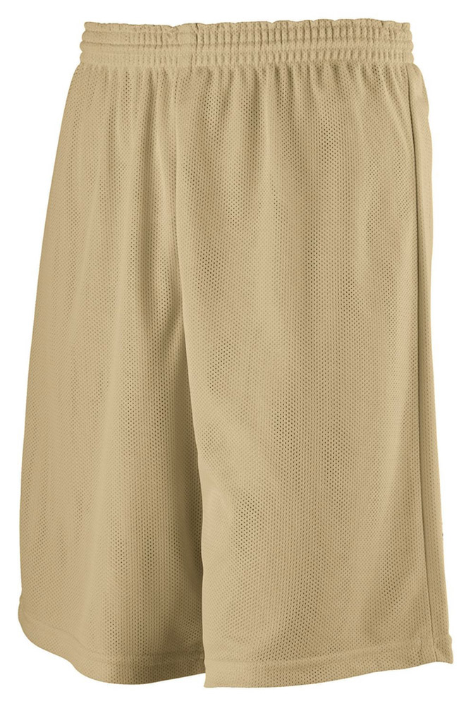 Augusta 739 Youth Longer Length Mini Mesh League Short -Gold-Small