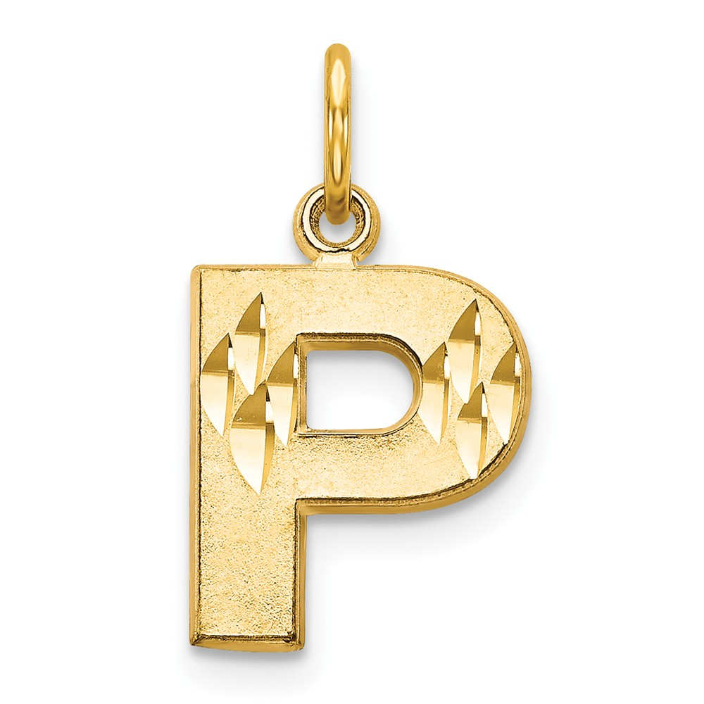 14k Yellow Gold Initial P Charm (0.8in long x 0.4in wide)