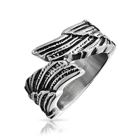 - Religious Angel Wing Feather Bypass Band Ring For Men For Women Oxidized Silver Tone Stainless Steel