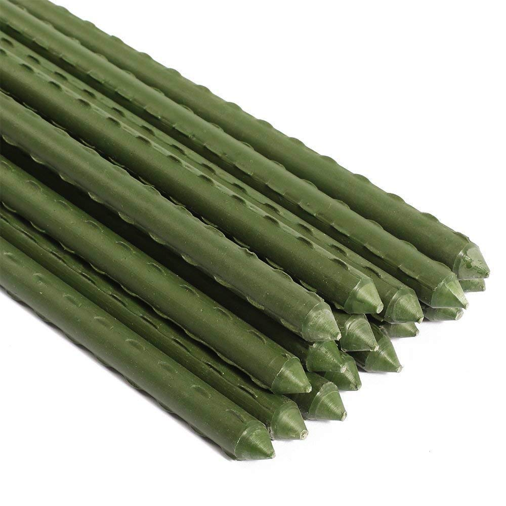 Sturdy Steel Garden Stakes 2-Ft Plastic Coated Plant Stakes, 10Packs for Climbing Plants