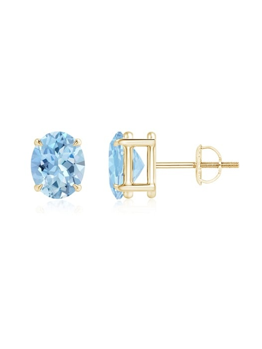 March Birthstone Earrings 0.5 carats Classic Prong Set Oval Aquamarine Basket Stud Earrings in 14K Rose Gold... by Angara.com