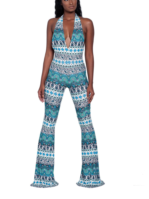 cf541b343c Dellytop - Womens Floral Backless Collar Overall Evening Jumpsuits -  Walmart.com