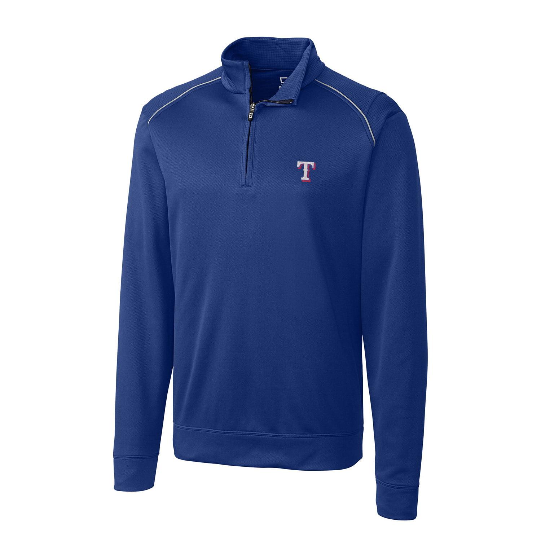 Texas Rangers Cutter & Buck Ridge WeatherTec Half-Zip Pullover Jacket - Royal