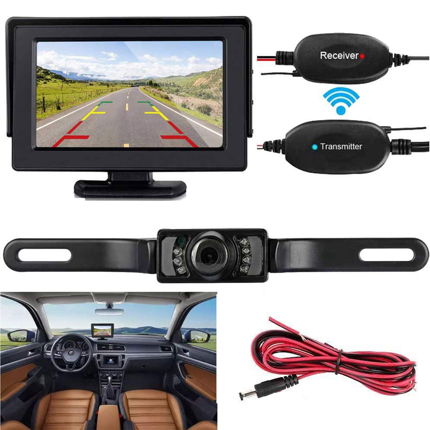 Style 2 7 LCD TFT Autos Truck Reversing Rear View Backup Digital Monitor Display Car Rear View Kit Wireless 2.4GHz 420 TV Lines IR Color CMOS Car Rear View Camera