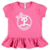 Philadelphia Phillies Soft as a Grape Girls Toddler Ruffle T-Shirt - Pink