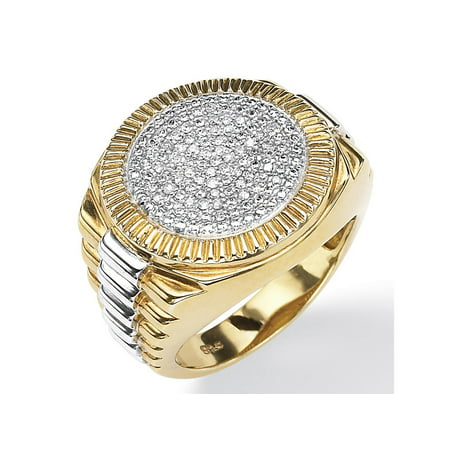 Chocolate Diamond Pave (Men's 1/7 TCW Round Pave Diamond Two-Tone Ribbed Ring in 18k Gold over Sterling)