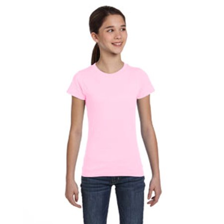 LAT Girls' Fine Jersey T-Shirt - Girls Pink Fashion Jersey