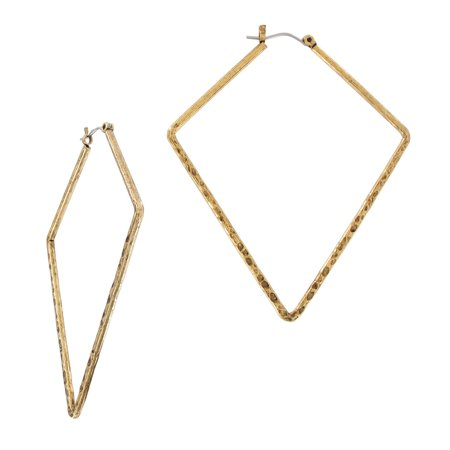 Triangle Two Tone Earrings (Gold Tone Triangle Oversized Hoop Earrings Large 2 3/4