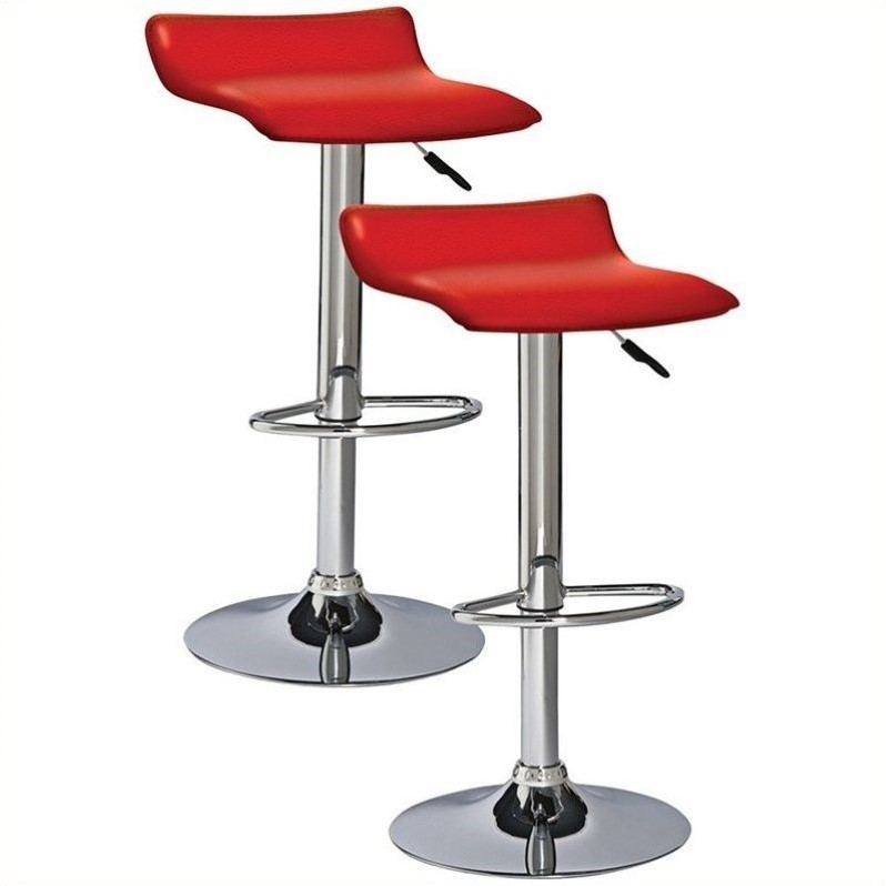 Bowery Hill 34 Quot Adjustable Swivel Stool In Red Set Of 2