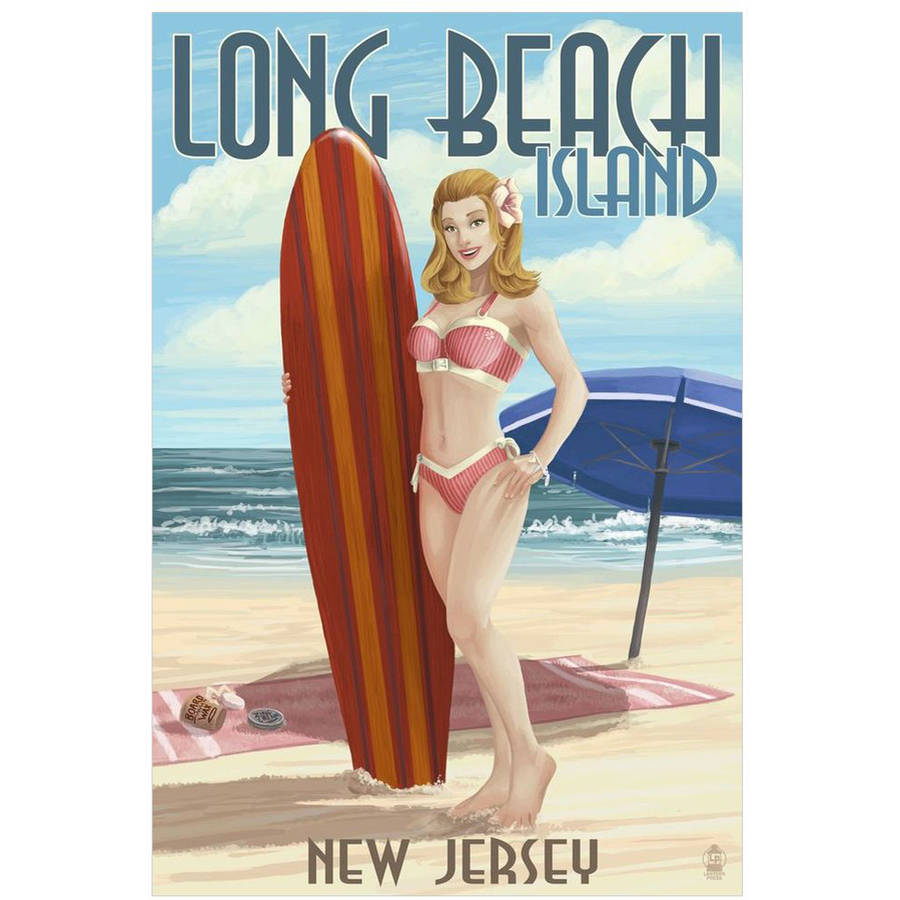 Long Beach Island, New Jersey -  Pinup Surfer Girl: Retro Travel Poster by Eazl Cling