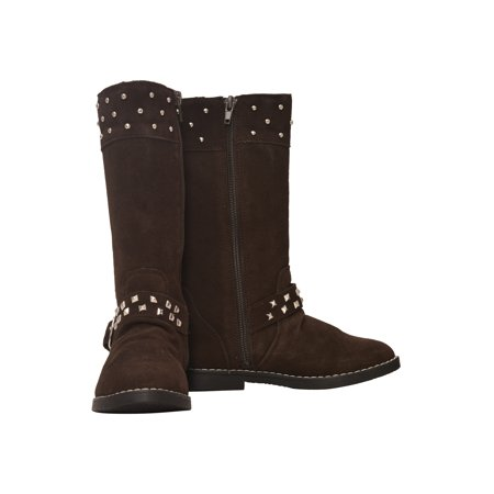 786d62fad07 L'Amour Girls Brown Suede Studded Buckle Long Boots