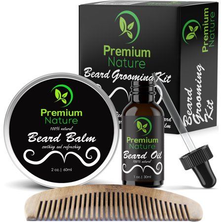 Beard Grooming Kit Gift for Him - for Mustache & Beard Growth - Soften Soothe & Moisturize Skin & Hair - Castor Jojoba Almond & More EssentialOils - Premium