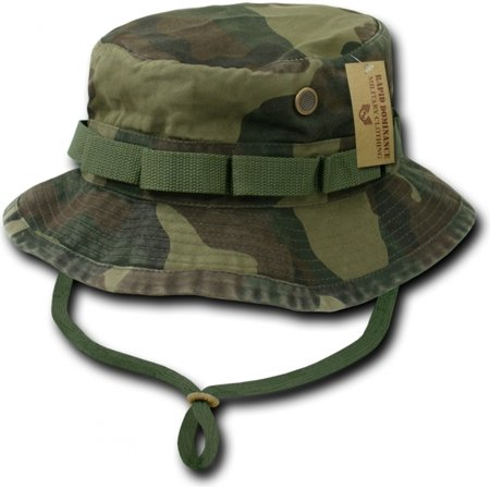 RapDom Vintage Washed Jungle Mens Boonie Hat [Woodland Camouflage - S]