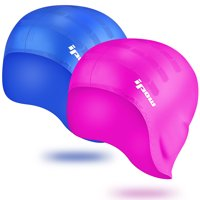 Swimming Caps-IPOW Swim Caps Silicone Swimming Hat for Adults Women Long Hair Men Kids Girls Boys Children Youth, Waterproof Swimming Cap-Blue + Rose Red, 2 Pack