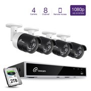 Loocam 1080P 8CH HD-TVI H.265+ Video Security Camera System 2TB DVR Surveillance Camera Kit and 4PCS 2.0 MP(1920x1080P) Indoor/Outdoor IR Weatherproof Camera 150FT Night Vision with IR Cut