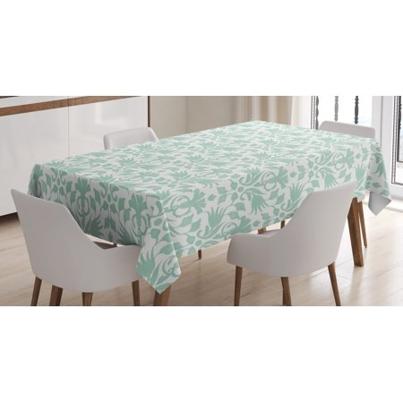 Aqua Tablecloth, Sea Wave Like Image Round Swirls Beach Theme Decor Hand Drawn Style Artwork, Rectangular Table Cover for Dining Room Kitchen, 52 X 70 Inches, Seafoam and White, by Ambesonne