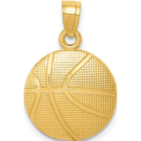 - 14k Yellow Gold Basketball (14x21mm) Pendant / Charm