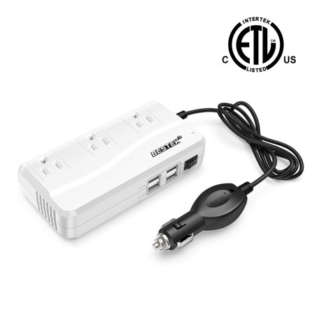 Portable BESTEK 200W Car Power Inverter DC 12V to 110V AC Inverter with 4.2A 4-Port USB Car Adapter ()