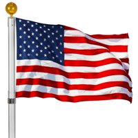 Ktaxon Outdoor 20ft Aluminum Sectional Flagpole Kit Halyard Pole + 1PC US American Flag