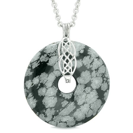 Obsidian Donut (Large Celtic Shield Knot Protection Powers Amulet Snowflake Obsidian Lucky Donut Pendant 22 Inch)