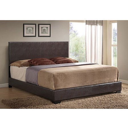 Ireland King Faux Leather Bed Brown Walmart Com