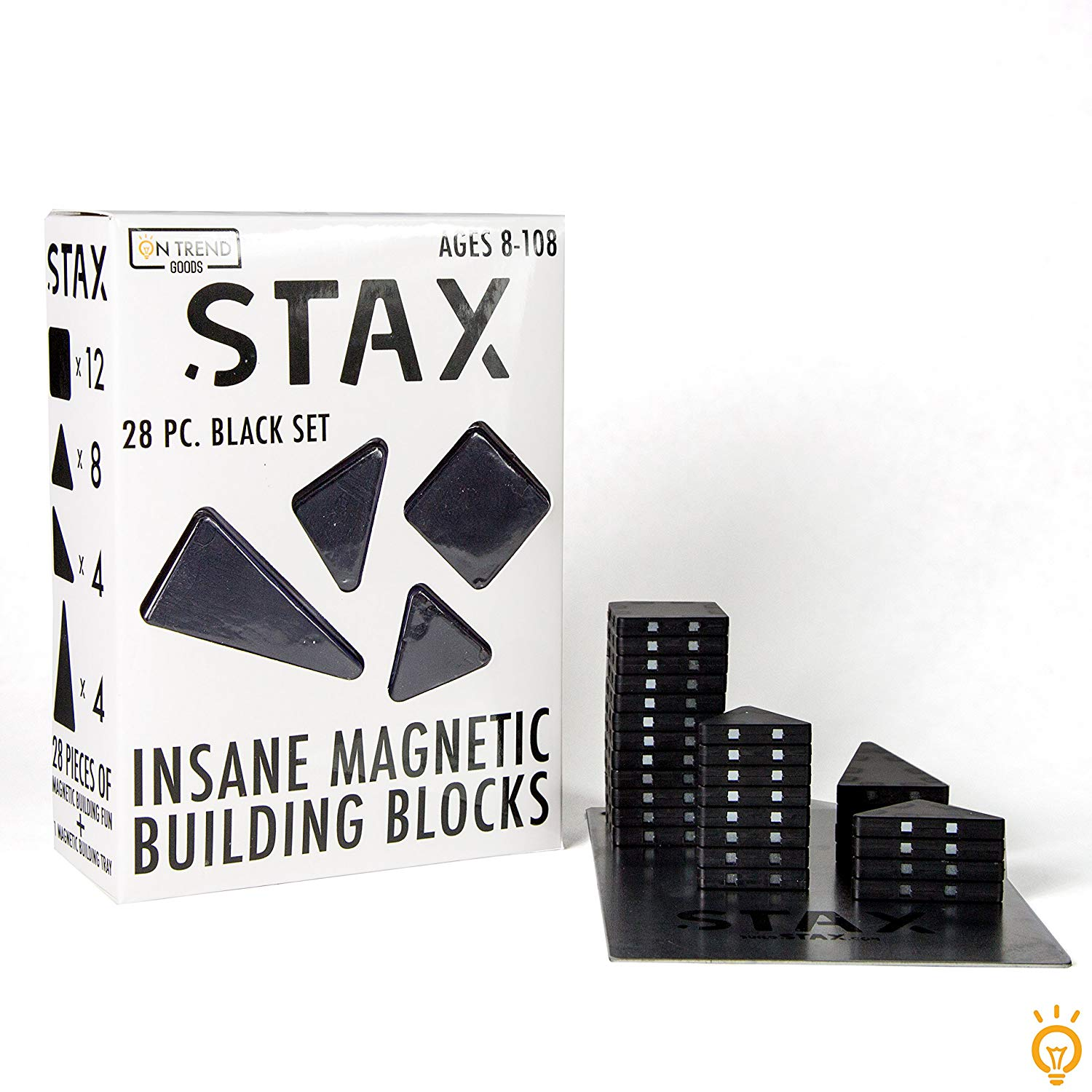 STAX 28pc Insane Magnetic Building Block Set (Blacks) by On Trend Goods