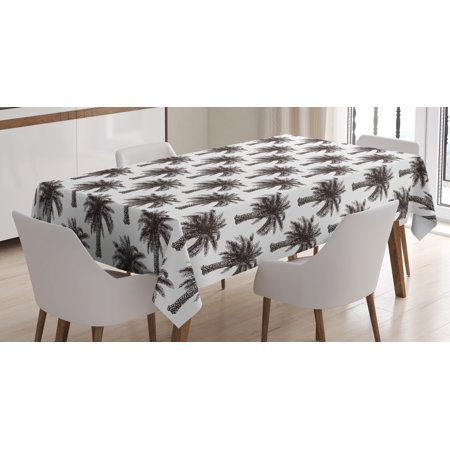 Palm tree tablecloth fully grown coconut banana trees for Dining room table 90 inch