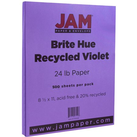 JAM Paper Bright Color Paper, 8.5 x 11, 24lb Brite Hue Violet Recycled, 500 (Recycled Colour)
