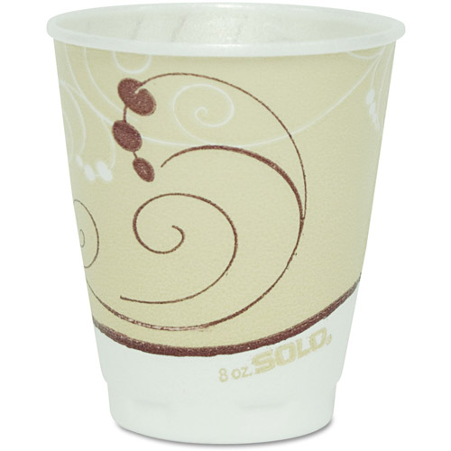 SOLO Cup Company Symphony Design Trophy Foam Hot/Cold Drink Cups, 8 oz, Beige, 1000 ct
