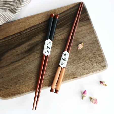 Outtop 2 Pairs Handmade Japanese Natural Chestnut Wood Chopsticks Set Value Gift