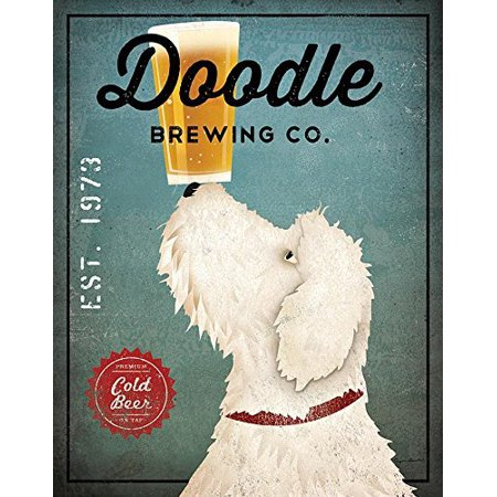 Vintage Advertising Paper - White Labradoodle Brewing Co Ryan Fowler 14x11 Signs Dogs Animals Art Print Poster Wall Decor Vintage Advertising Beer Sign Labra Doodle One 11x14in Paper Poster Print..., By Wild Apple Ship from US