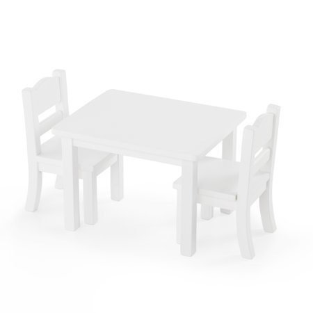 Doll Table and Chairs Set - White