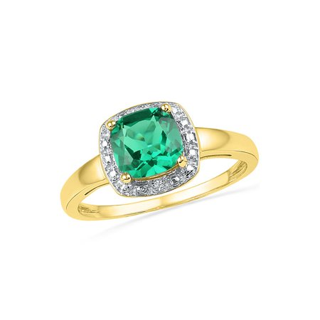 10kt Yellow Gold Diamond Engagement Ring for Women Princess Lab-Created Emerald Solitaire 1-3/4 Cttw