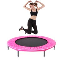 """enyopro Upgraded 38"""" Foldable Indoor Trampoline, Fitness Trampoline with Safety Pad, Stable Mini Exercise Rebounder for Adults Kids, Perfect for Indoor Garden Workout - Max Load 180lbs, B1083"""